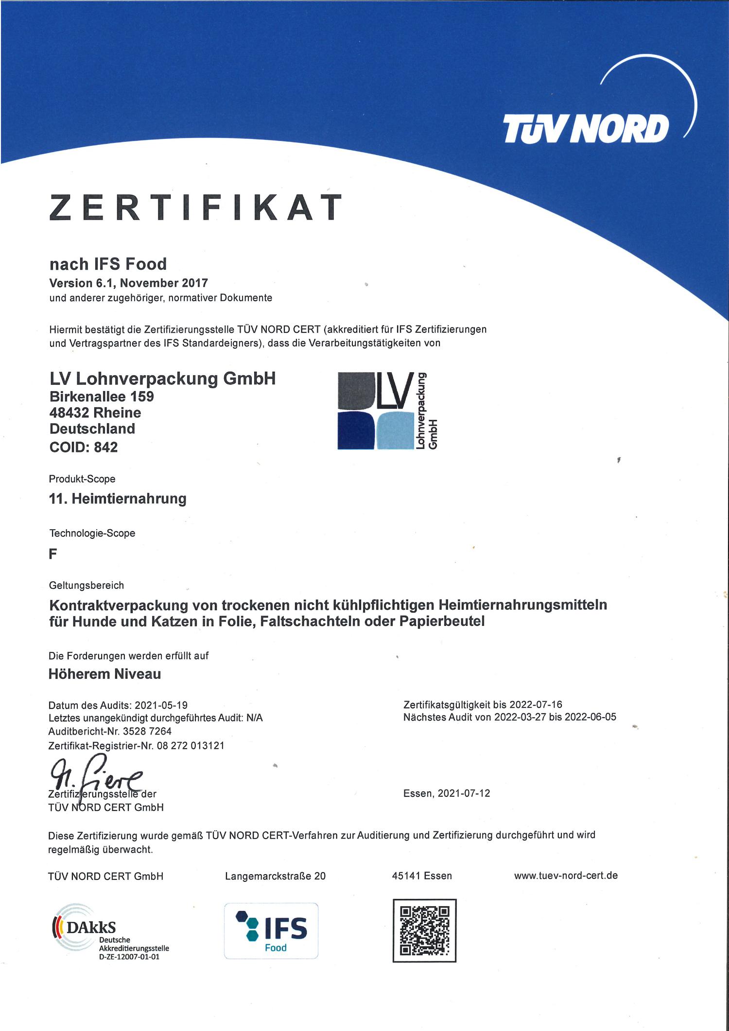 Zertifikat IFS Food von LV Lohnverpackung GmbH